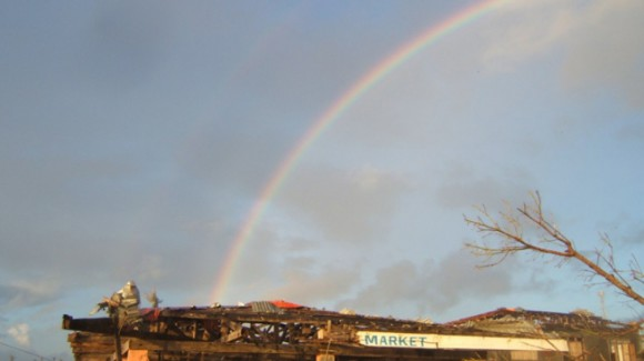 rainbow above the rubble