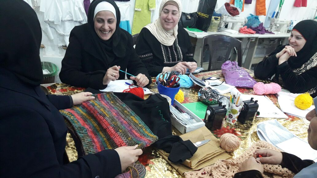 Syrian refugee women learn to knit at ZFs Jordan Vocational Training Center