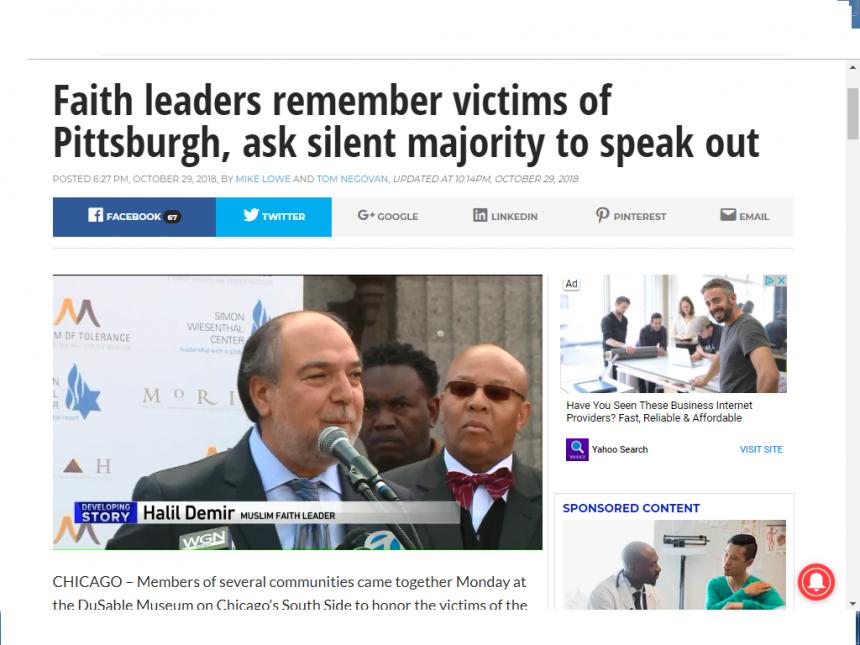 السيد دمير المدير التنفيذي للزكاة يحيي ذكرى  ضحايا بيتسبرغ