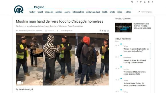 Muslim charity distributes food to homeless struck by Chicago's cold snap