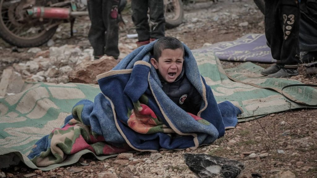 Syrian Boy Crying After Recent Attacks on his Village
