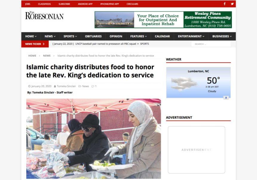 الجمعية الخيرية الاسلامية توزع الطعام تكريماً لتِفاني مارتن لوثر كنج