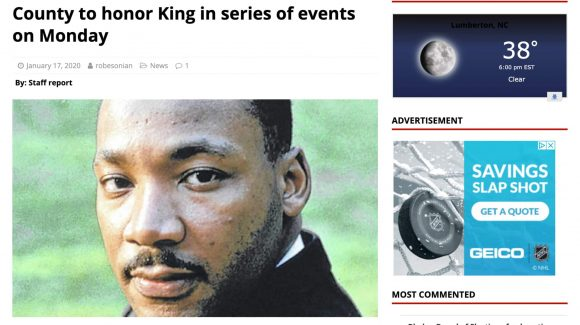 County to honor King in series of events on Monday