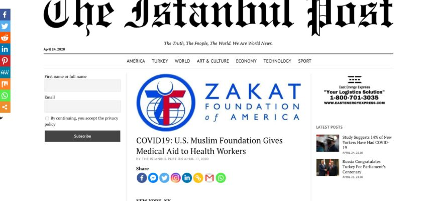 COVID19: U.S. Muslim Foundation Gives Medical Aid to Health Workers