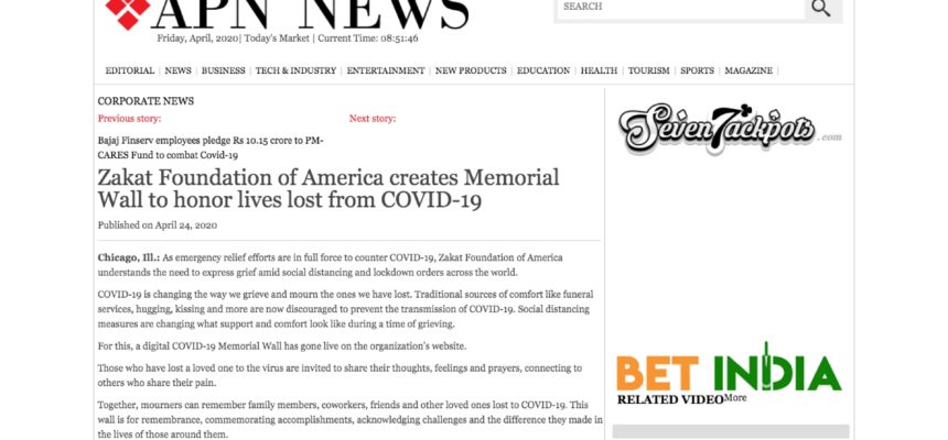 Zakat Foundation of America creates Memorial Wall to honor lives lost from COVID-19
