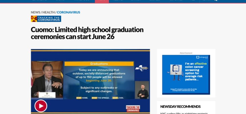 Cuomo: Limited high school graduation ceremonies can start June 26