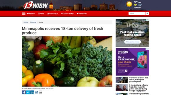 Minneapolis receives 18-ton delivery of fresh produce