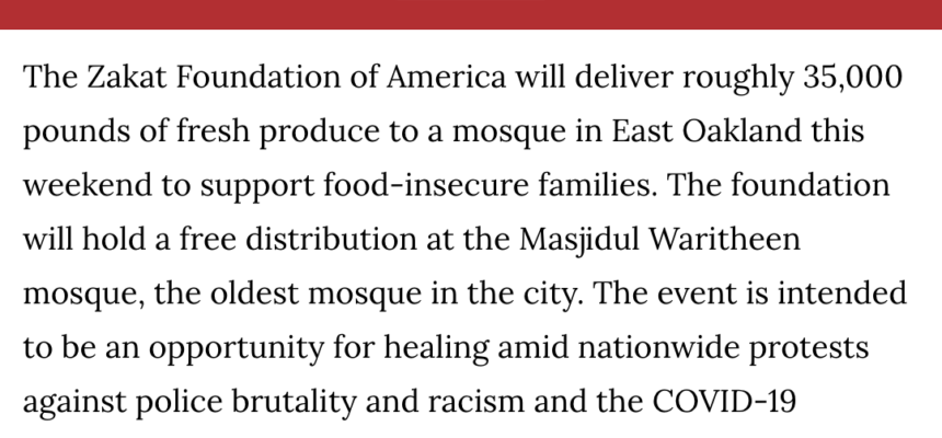 Zakat Foundation of America to deliver 35,000 pounds of fresh produce to a mosque in East Oakland the weekend of June 20, 2020 and June 21, 2020