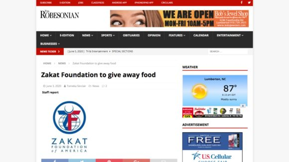 Zakat Foundation to give away food