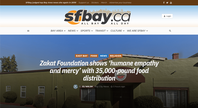 Screenshot of SF Bay Article on Zakat Foundation Humane Empathy Food Distribution