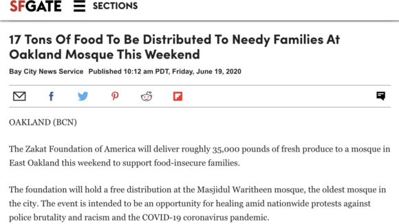 17 Tons Of Food To Be Distributed To Needy Families At Oakland Mosque This Weekend