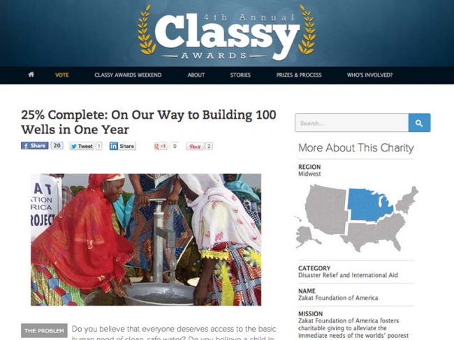 Zakat Foundation of America is Top Finalist for 4th Annual Classy Awards