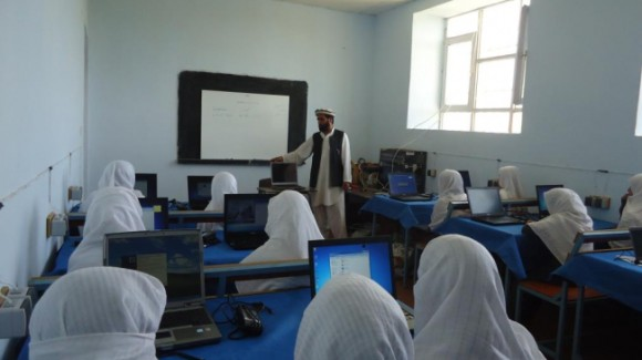 A computer lab at the school allows the girls to learn about technology.
