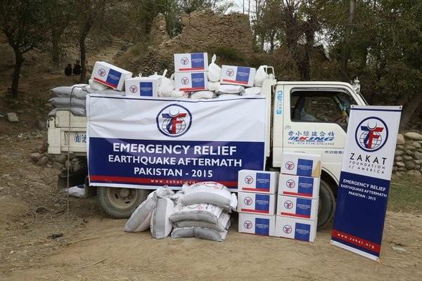loaded emergency relief truck