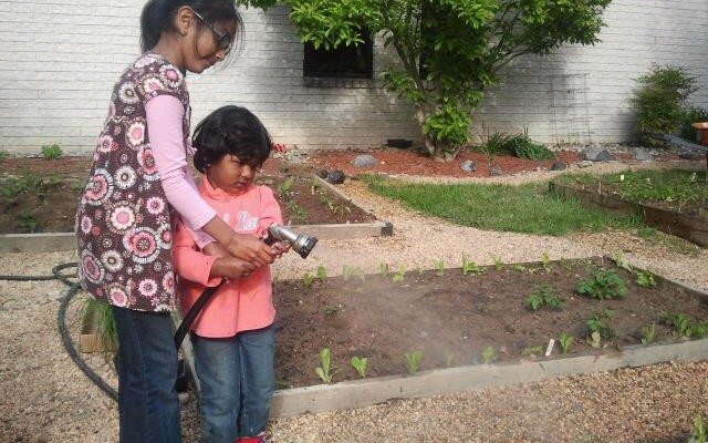 a volunteer helping a younger kid water the plants