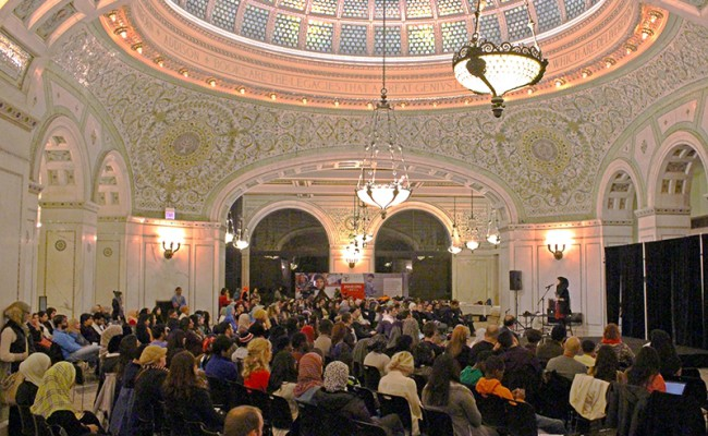 picture of the crowded mosque for the event