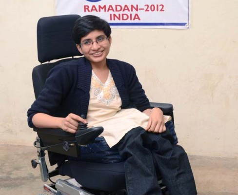 Dr. Mardarkar when she first received her electric wheelchair.
