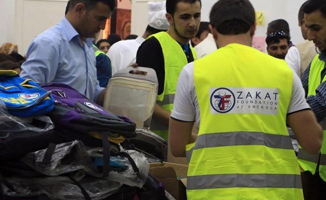 zakat foundation team setting up the bags