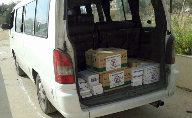 medical supply boxes in a truck