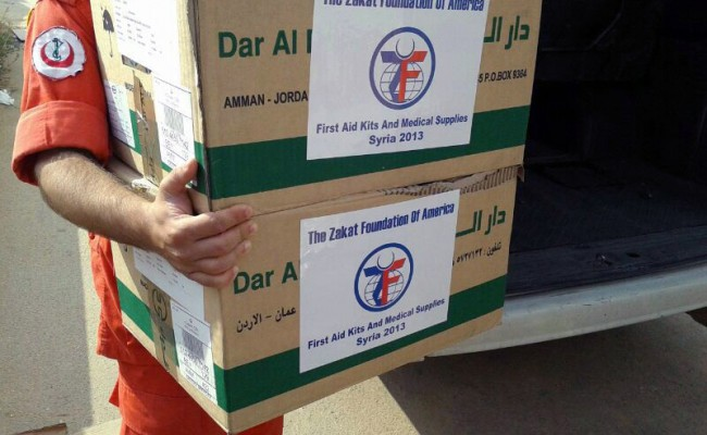 medical supply boxes carried by zf volunteer