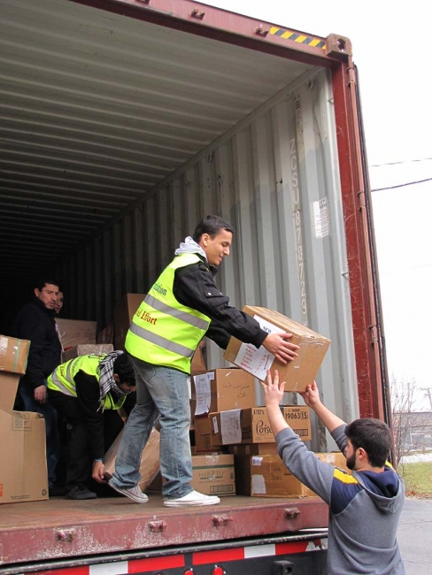 40 Foot Container Filled with Relief Supplies Shipped to Syrian Refugees