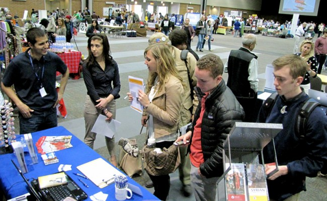 Some of the many visitors to our booth at the Global Activism Expo.