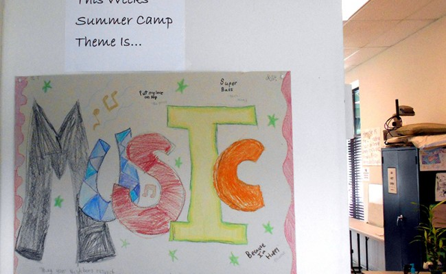 summer camp poster regarding music